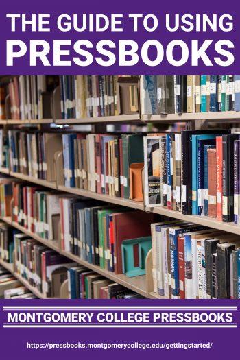 Cover image for Montgomery College Pressbooks Guide